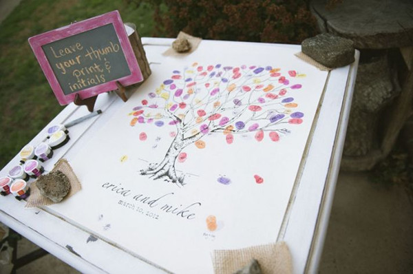 Fingerprint Guestbook - foto via elegantweddinginvites.com