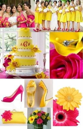 Hot Pink e Giallo - foto via orangebeach-alabamaweddings.com