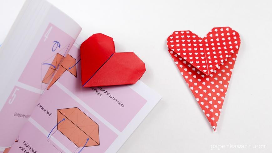 Origami a forma di cuore - foto via www.paperkawaii.com